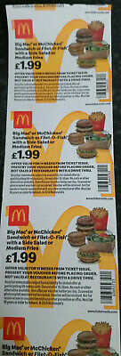 McDonalds Vouchers / Coupons x 40 Meal Vouchers No Expiry Date