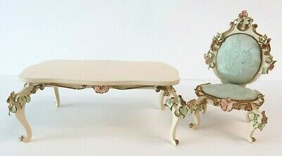 VTG GERMANY SPIELWAREN Miniature Dollhouse Furniture Set TABLE + PADDED CHAIR