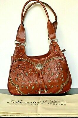 American West Lady Lace Tooled Genuine Leather Handbag Tote Double Straps New