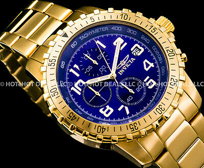 Invicta Mens Chronograph Blue Dial 18K Gold Plated Stainless Steel Tachy Watch !