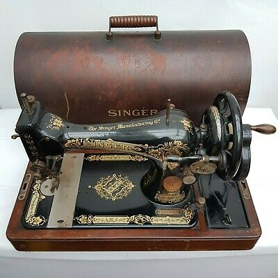 Antique Vintage Singer Sewing Machine 28K Y5512870 Manual Hand Crank c.1927