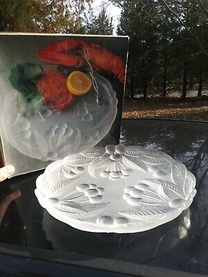 """Vintage Mikasa 12"""" Frosted Crystal Glass Buffet Platter """"Bountiful"""" Cherries BOX"""