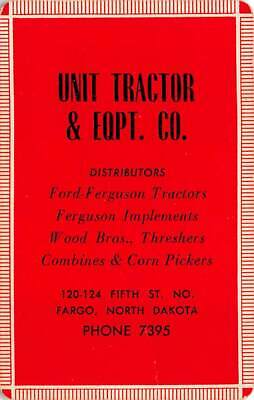 Unit Tractor & Equipment Co Fargo ND USA Single Swap Playing Card VTG Ad