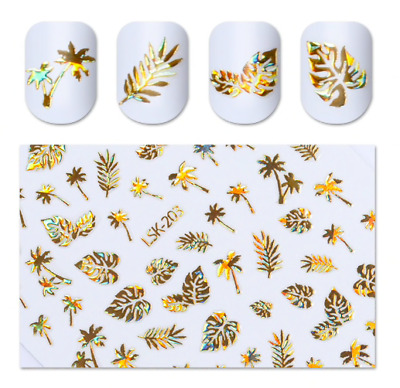 Gold Holographic Palm Tree Leaf Print Nail Art Stickers Decals