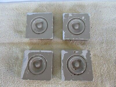 Antique Victorian Bullseye Molding, Corner Blocks, Small Size, Lot of 4, Salvage