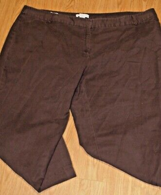 Liz Claiborne Womens Plus Size 24W Brown Pants Slacks EMMA Capri Cropped