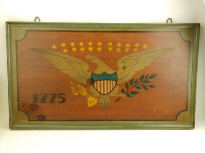 Vintage L Hitchcock Painted Eagle Colonial America Flag Wooden Pub Sign Picture