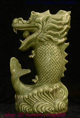Old Chinese Crackle Glaze Porcelain Feng shui Dragon Fish God Loong Beast Statue