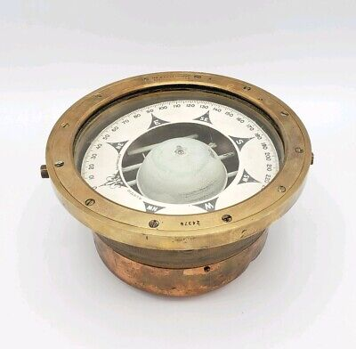 Antique Lietz Nautical Ship Compass Solid Brass San Francisco Binnacle Navy