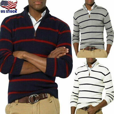Men's Winter Warm Cotton Pullover Jumper Sweater Long Sleeve Striped Tops Blouse