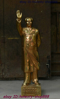 "32"" Chinese Brass Great ideologist statesman Leader Mao Ze Dong Chairman Statue"