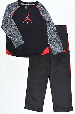 NIKE AIR JORDAN Boys' 2pc Set: Therma-Fit Joggers+Top, Black/Red, 3 to 7 years