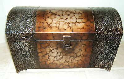 "Treasure Chest Embossed Metal Hinged Trinket Box Footed ~ 14 1/2"" W- 8 5/8"" Tall"