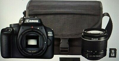 CANON EOS 4000D DSLR Camera EF-S 18-55 mm Lens,Bag and 16GB Card Bundle-New