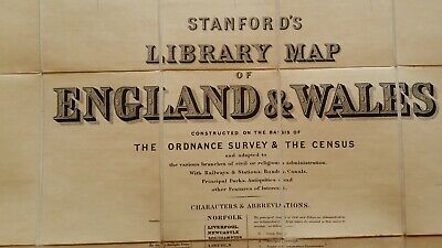 1882 Huge Stanford's Library Map Of England & Wales -4 Linen Backed Maps In Case