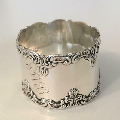 Fine Gorham art nouveau Sterling silver napkin ring with heavy applied edges