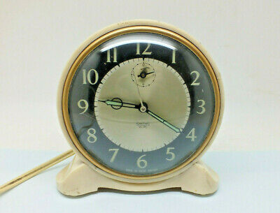 Vintage Art Deco Smiths Sectric Bakelite Electric Alarm Clock Cream / Black