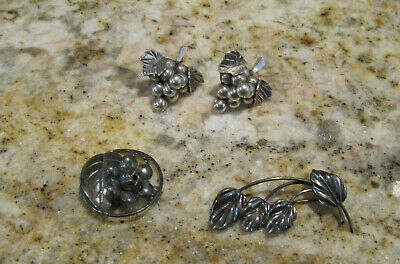 Vtg  Taxco Mexico 925 Sterling Silver Grape Post Earrings & 2 Sterling Leaf Pins