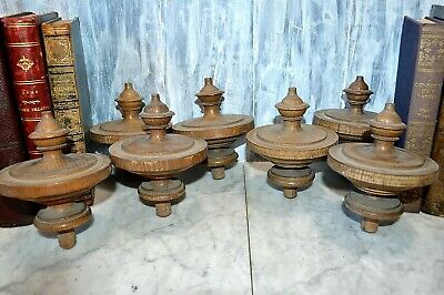 One Antique Large German Turned Wood Oak Top Finial Drapery Stairs Post 7 Avail