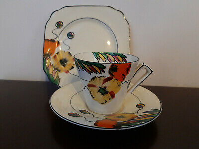 Art Deco Trio Empire Ware, hand painted flower design, cup / saucer / plate