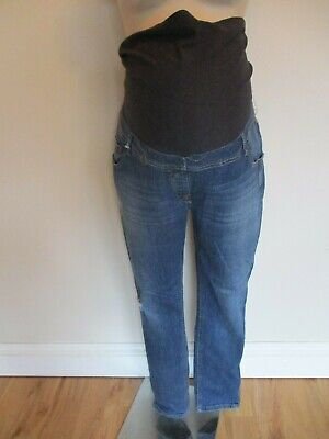 Next  Maternity Blue Over Bump Skinny Zip Ankle Jeans Size 18 Long
