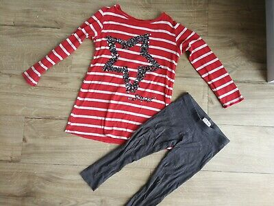 Girls red and white striped top and grey leggings - aged 6 years