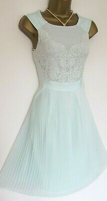 TED BAKER ~Faybll~ Dress UK 8 1 ~Wedding~ Mint Green Pleated Lace ~Reversible~