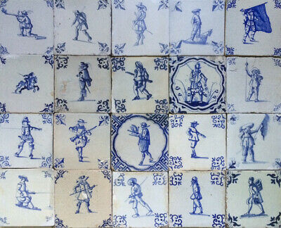 Antique Mixed Collection of 20 Early Dutch Delft Tile Large Figures 1625-1650