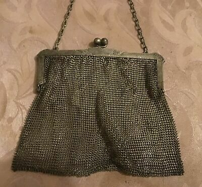 Antique 19th Century Silver Mesh Chain Mail Women's Purse Stamped B9 74