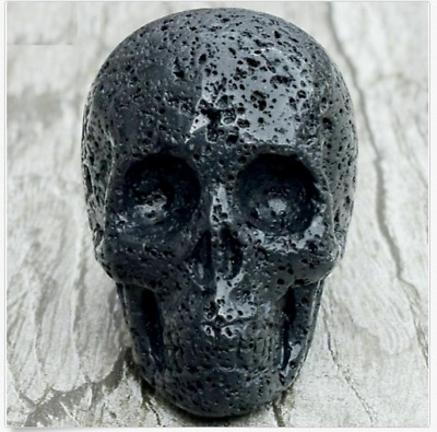 76g  Black Lava Skull Statue Natural Volcanic Stone Figurines Hand Carved A25