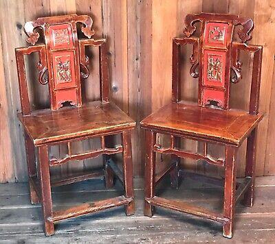 Set of 2 Lacquered Chinese Wood Chairs