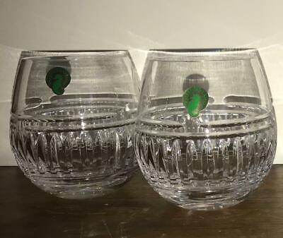 NEW set of 2 WATERFORD 'BOLTON' CRYSTAL STEMLESS WINE GLASSES NWT