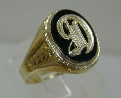"Fine Vintage 14K Yellow Gold Onyx Letter ""D"" Initial Mens Signet Ring~Sz 11 3/4"