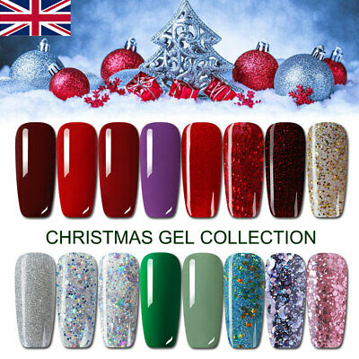 8ml Christmas Design UV Nail Gel Polish Glitter Soak Off UV Varnish Red Green