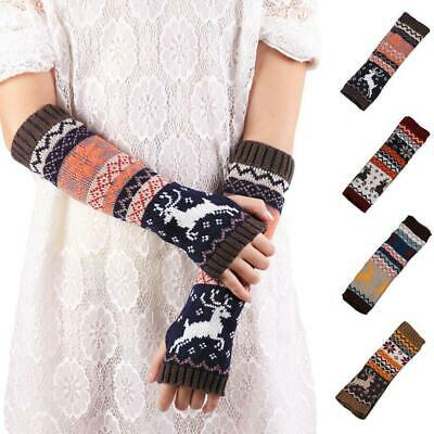 Women Winter Wrist Arm Warmers Ladies Knitted Long Fingerless Gloves Mittens