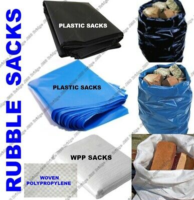 Heavy Duty Tough Builders Rubble Sack Black or Blue Plastic or White Woven WPP