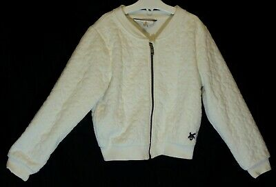 Girls Jasper Conran Ivory White Floral Embossed Bomber Jacket Age 6-7 Years