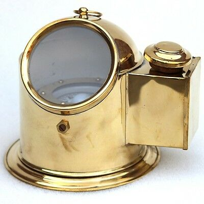 Collectible Shiny Brass Maritime Binnacle Helmet Compass With Oil Lamp Decor