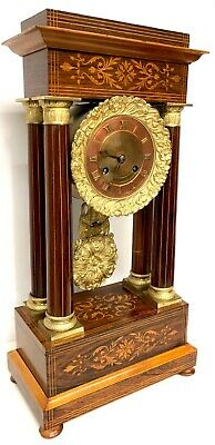 Antique Marquetry Rosewood And Boxwood Inlay Portico Clock With Copper Dial