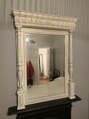 French Antique Wall Mirror White Wood. Large And Heavy Beautiful
