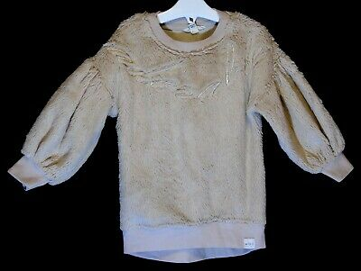 Girls River Island Dusky Beige Pink Adorable Furry Velour Jumper Age 2-3 Years