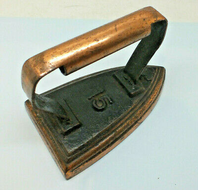Antique Flat Iron Club brand No 15 Copper handle and base Victorian smoothing