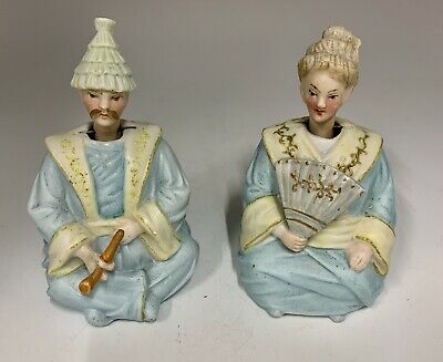 Pair Bisc Porcelain Oriental Nodding Figurines circa 1865