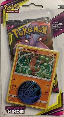 New Pokemon Tcg Sun & Moon Unified Minds Booster Pack Sudowoodo Promo Card& Coin