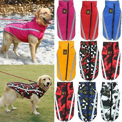 UK Waterproof Warm Dog Coat Clothes Padded Vest Pet Jacket Medium/ Large Winter