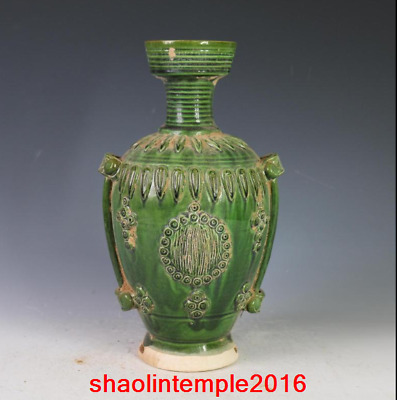 11.2Old China antique Tri colored glazed pottery Green glaze Carved flowers vase