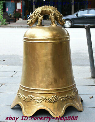 """29"""" Old Chinese Temple Brass Dragon Kylin God Beast Bell Clang Gong Clock Statue"""