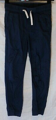 Boys H&M Navy Blue Elasticated Waist Cuffed Cotton Summer Trousers Age 8-9 Years
