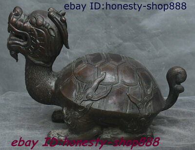 Chinese Copper Bronze Feng shui Animal Dragon Tortoise Loong Turtle Beast Statue