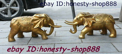 "24"" Old Chinese Copper Brass Fengshui Animal Elephant Heffalump Bat Statue Pair"